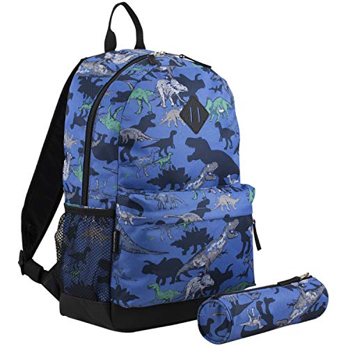 Eastsport Dome Backpack with FREE Pencil Case, Blue/Dinosaur Print