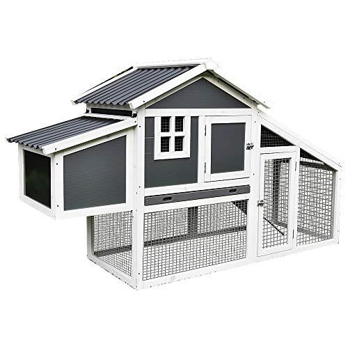 Melko Hühnerstall mit Wellplatten Dach Hühnerhaus Geflügelstall Legenest Hühnervoliere