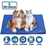 GoStock Alfombrilla de Refrigeración para Perro alfombras mascotas camas para perros Pet Cool Mat Estera de Enfriamiento Fresco Cojín Azul Nevera Techo Perfecta para Camas de Suelo (90 * 50 cm)