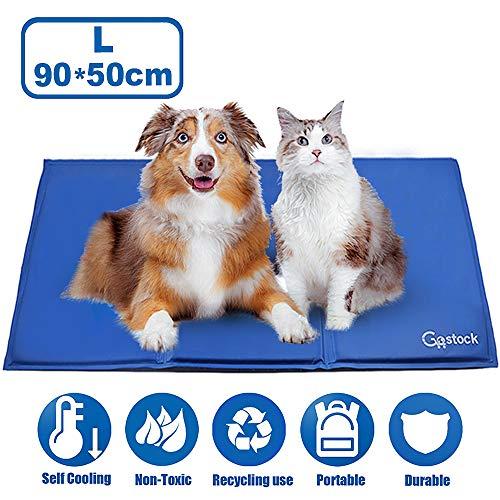 GoStock Pet Cooling Mat Haustier kühlmatte Kühlmatte für Hund & Katze Haustier Eismatte Selbstkühlende Matte Hunde Matte Haustier Matte für Kisten, Hundehütten und Betten (90 * 50cm)