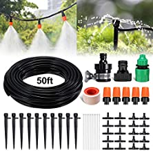 PATHONOR Drip Irrigation Kit, 50ft/15m Garden Irrigation System with Distribution Tubing Hose Adjustable Nozzles Plant Watering Kit Mist Irrigation System for Garden, Greenhouse, Patio, Lawn