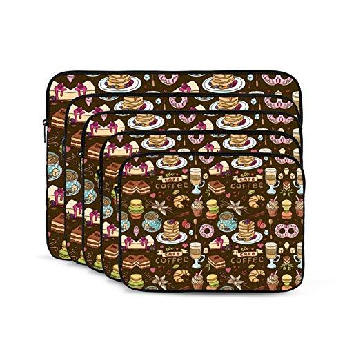 KUUDJIT Beautiful Hand Drawn Coffee (1) 12/13/15/17 Inch Laptop Sleeve Bag for MacBook Air 13 15 MacBook Pro Portable Zipper Laptop Bag Tablet Bag,Diving Fabric,Waterproof