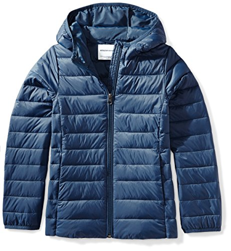 Amazon Essentials Little Girl's Lightweight Water-Resistant Packable Hooded Puffer Jacket, Navy, Small