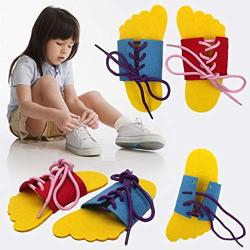 CHRISTY HARRELL 2 PCS Felt Teaching Toy, Children's Shoelace Learning Shoe, Tying Shoelaces Training, Practice Children Lacing Tying Shoes For Toddler Kids