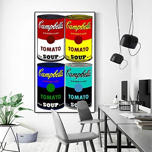 YHZSML Ölgemälde Berühmte Andy Warhol Campbells Suppe Klassische Wandkunst Leinwand Gemälde Wandbilder für Wohnzimmer Dekor Bilder 60X100 cm