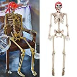yosager 5 ft Pose-N-Stay Life Size Skeleton with Glowing Eyes, Human Bones Full Body Realistic with Posable Joints, Pose Skeleton Prop for Halloween Decoration