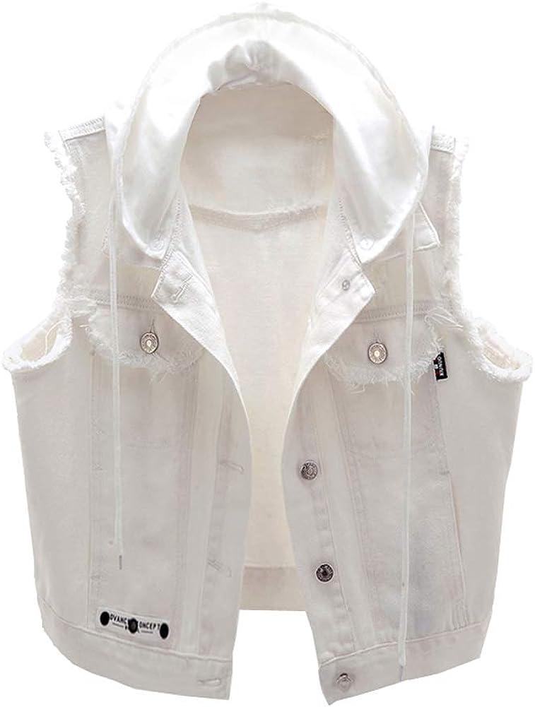 BlueFire2015 Women White Denim Waistcoat Vest with Hooded Casual Sleeveless Jean Denim Vest Jacket