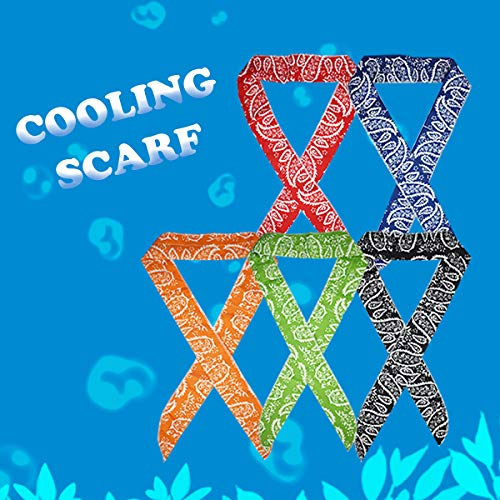 VANVENE ICE Cool Scarf Neck Wrap Cooling Scarf, inflated in 8-10 mins on Soaking in Water. for Golf, Outdoor, Walking, All Outdoor Activities. 5 Pcs Value Pack (Blue, Red, Orange, Black, Green)