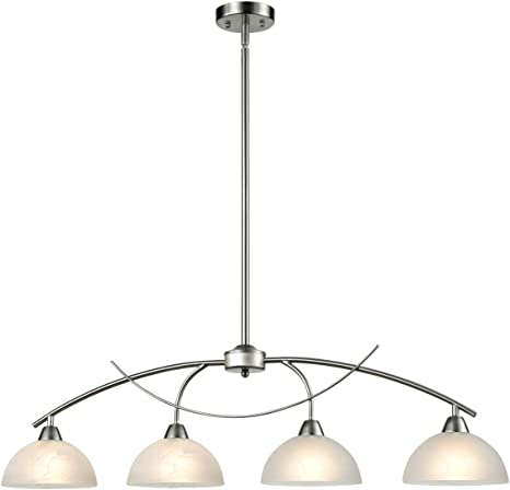 Daycent Contemporary Alabaster Frosted Glass Pendant Light Kitchen Island Chandelier Hanging Ceiling Lighting Fixture Brushed Nickel 4 Shade Amazon Com