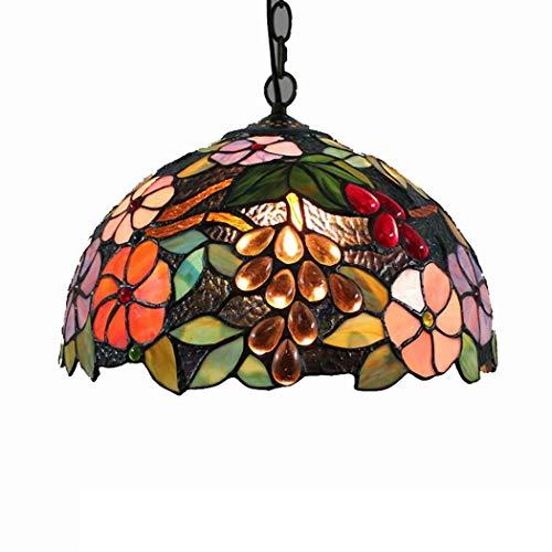 KEYREN Lámpara colgante estilo Tiffany con diseño vintage mediterráneo estudio lámpara colgante con vidrieras E27 30 cm, 110 ~ 220 V