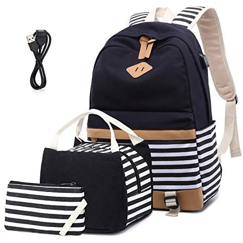 Girls Canvas School Backpack Set Teen Girls Backpack with lunch bag College Laptop Backpack with USB (3 in 1 Black Set)
