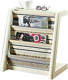 WDSZXH Estante Estante Creativo Muebles de Madera Maciza Periódico Rack Piso Estante Vertical Librería Simple Sala de Estar Muebles (Color: Blanco, Tamaño: 51 * 46.5 * 33cm)