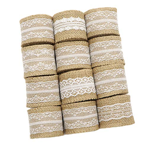 David accessories Burlap Ribbon Natural Fabric Ribbons Rolls White Lace Trims Tape 12 Rolls for Arts Crafts DIY Wedding Home Decoration Gift Wra