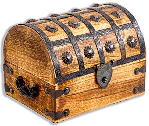 Baule del tesoro, grande, 20 x 15 x 15 cm, in legno massiccio, marrone