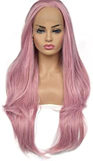 Fashian Women Natural Body Wave Hair Synthetic Lace Front Wig Heat Resistant for All Skin Women(Pink) DIY Fun (Color : Pink)