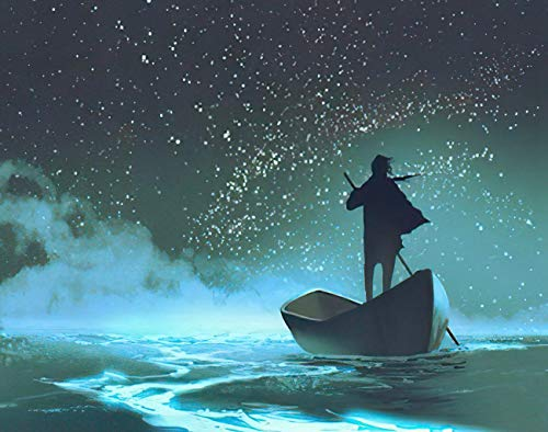 MQPPE Landscape 5D DIY Diamond Painting Kits, Man Rowing A Boat in The Sea Under Beautiful Sky Stars Painting Full Drill Painting Arts Set Craft Canvas for Home Wall Decor Adults Kids, 16' x 20'