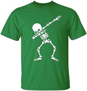 Foowni Men's New Summer Casual Skull Printing Elastic Short Sleeve T-shirt Tops Blouse