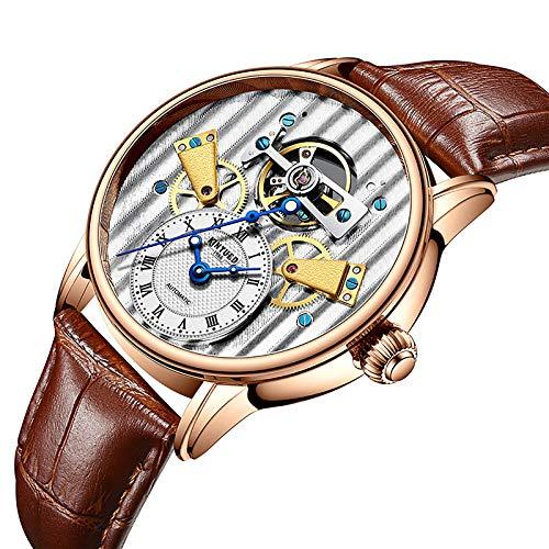 JTTM Reloj mecánico Impermeable Luminoso automático Explosivo Hombre de Negocios para Hombres Regalos para Hombres,Marrón