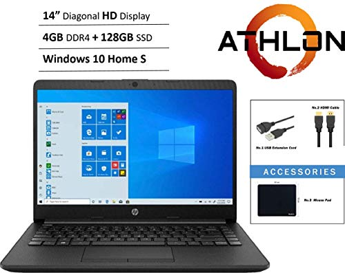 "HP 14"" HD WLED backlit High Performance Business Laptop, AMD Athlon Silver 3050U up to 3.2GHz, 4GB DDR4, 128GB SSD, Wireless-AC, HDMI, Bluetooth, Webcam, SD Card Reader, Windows 10 S, Accessory Bundle"