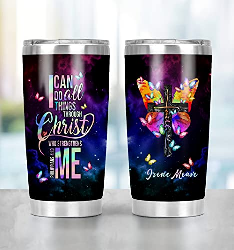 Zuhause Personalize Gift Travel Mug I Can Do All Things Through Christ Who Strengthens Me Tumbler Personalized Tumbler 20 Oz Stainless Steel Tumbler Gifts For Daughter, Mom, Sister, Wife