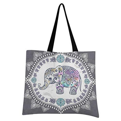 XIXIXIKO - Bolsa de lona ligera con diseño de elefante tribal étnico, diseño floral, para playa, bolsa de hombro, resistente para mujeres, niñas, compras, gimnasio, playa, viajes diarios