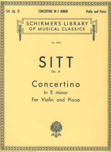 SITT - Concertino Op.31 en Mi menor (1ª y 3ª Posiciones) para Violin y Piano