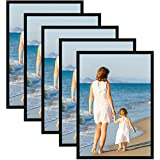 Alishomtll Juego de 5 marcos de fotos DIN A3, 29,7 x 42 cm, marco de fotos de plástico, para varias fotos, color negro