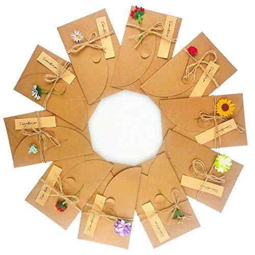 Nigaga Grußkarten mit getrockneten Blumen, handgefertigt, Retro-Kraftpapier, blanko, für Geburtstag, Hochzeit, Party, Einladungskarte, 10 handgefertigte Blumen & Aufkleber, 10 Stück