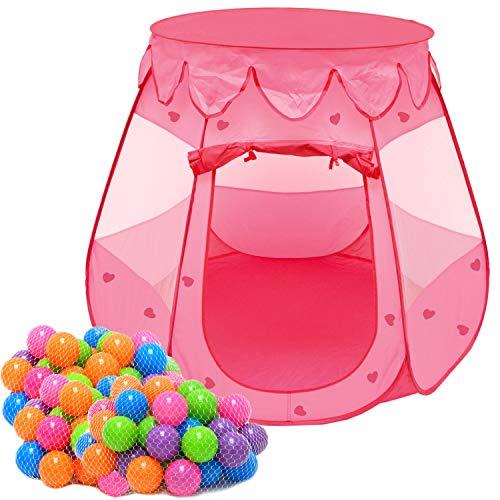 LittleTom Mädchen Bällebad Zelt 200 Baby Bälle Kinderzelt 120x120x90cm Rosa