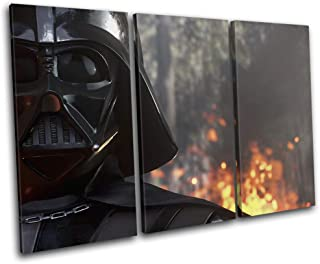 Bold Bloc Design - Star Wars Battlefront Darth Vader Gaming 120x80cm Treble Canvas Art Print Box Framed Picture Wall Hanging - Hand Made in The UK - Framed and Ready to Hang RC-7231(00B)-TR32-LO-C