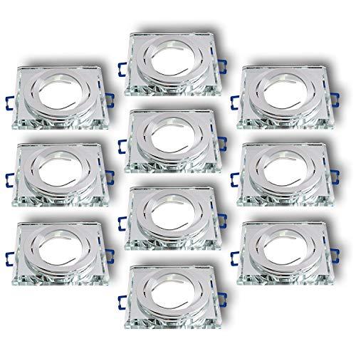 Einbaustrahler aus Glas/Spiegel/Klar CRISTAL-S Inkl. 10 X CRISTAL (Klar) Eckig Schwenkbar IP20 Deckenstrahler Einbauleuchte Deckeneinbauleuchte Deckenspot, 10x Fassung GU10 - ohne Leuchtmittel