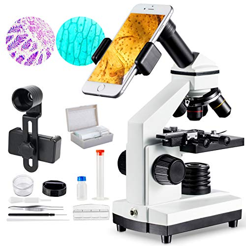 1000x Microscope for Students with Prepared Slides Kit for School Teaching Demonstration, Amateur Biology Research Homeschool Science Learning Nature MAXLAPTER
