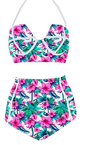 LA PLAGE Women's High Waist Vintage Push Up Padded Swimsuit...