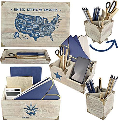 25DOL Patriots Wooden Desk Organizer Set. 6pc Desk Accessories and Office Supplies Kit. College supplies for student, High school supplies, school supplies for college student.
