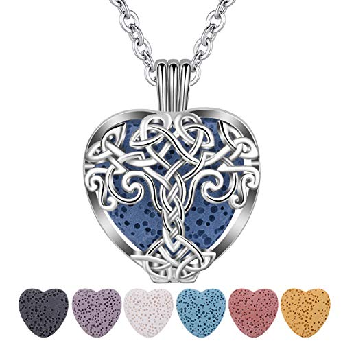 CELESTIA Essential Oil Lava Stone Diffuser Necklace, Tree of Life Heart Aromatherapy Locket Pendant with 7 Reusable Coloured Lava Stones - 24' Rolo Chain Girls Women Jewelry Gift Set