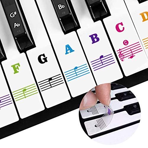 Mocobo - Adesivi per pianoforte, 37/49/61/88, con tastiera, trasparente, rimovibile, per bambini e adulti