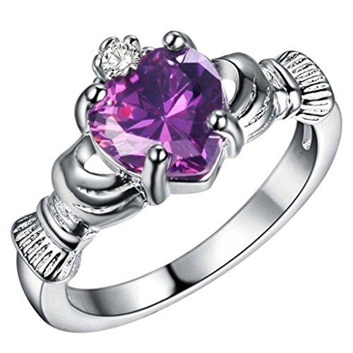 Adisaer Sterling Silber Ringe Claddagh Ring Verlobungsring Damenring Diamant Lila Bandring mit Stein Größe 60 (19.1)