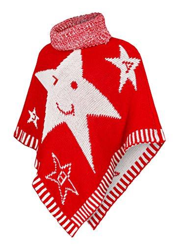 Danaest Kinder Mädchen Strick Poncho Rollkragen Pullover Cape Umhang Winter (601), Farbe:Rot, Kinder Poncho:152/12 Jahre