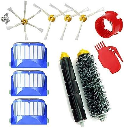 MIRTUX Kit de repuestos compatible con Roomba serie 600. Pack de cepillos y accesorios reemplazo de aspiradora 605 610 612 615 616 620 621 630 631 645 650 651 655 660 665 671 675 680 686 690