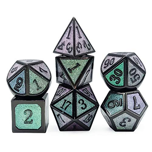 Picapoo Metallwürfel Set RPG Brettspiele D4 D6 D8 D10 D% D12 D20 Farbwechselwürfel Aus Verschiedenen Winkeln-DND Polyedrische Würfel RPG Würfel