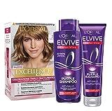 L'Oréal Paris Kit Cura & Colore Capelli Biondo, Box con Tinta Capelli Excellence Biondo 7, Shampoo e Balsamo Anti-Giallo Color Vive Purple, Biondo, Confezione da 3