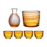 ZSLD Set De Vasos De Sake para Vino Caliente O Frío, El Juego De 6 Piezas Incluye 1 Botella De Sake De 300 Ml, 1 Vaso De 600 Ml Y 4 Vasos De Chupito De 47 Ml, Set De Regalo