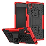 betterfon | Sony Xperia XA1 Plus hülle Outdoor Handy Tasche Hybrid Hülle Schutz Hülle Panzer TPU Silikon Hard Cover Bumper für Sony Xperia XA1 Plus Rot
