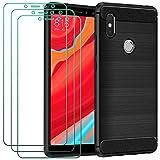 ivoler Hülle für Xiaomi Redmi S2 mit 3 Panzerglas Schutzfolie, Schwarz Stylisch Karbon Design Anti-Kratzer Handyhülle Stoßfest Schutzhülle Cover Weiche TPU Silikon Hülle