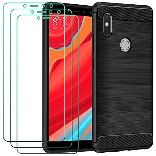 ivoler Funda para Xiaomi Redmi S2 con 3 Unidades Cristal Templado, Fibra de Carbono Carcasa Protectora Antigolpes, Suave TPU Silicona Caso Anti-Choques Case Cover - Negro
