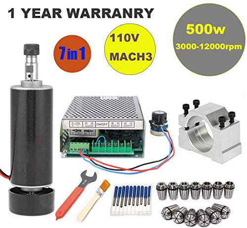 Lowest Prices! CNC Spindle Kit 500W Air Cooled 0.5kw Milling Motor + Spindle Speed Power Converter +...