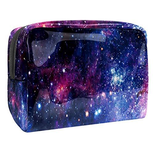 Bolsa de maquillaje portátil con cremallera, bolsa de aseo de viaje para mujeres, práctica bolsa de almacenamiento cosmético Galaxy Stars Universe Secret Night