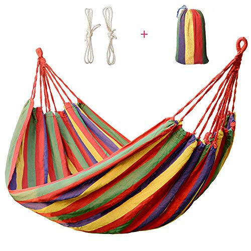 YFGRD Hammock with Bar Bali series 1 Persons with cushions, useful harge up to 200 kg, 200 x 150 cm for Garden Camping Trip,Red,200x150cm