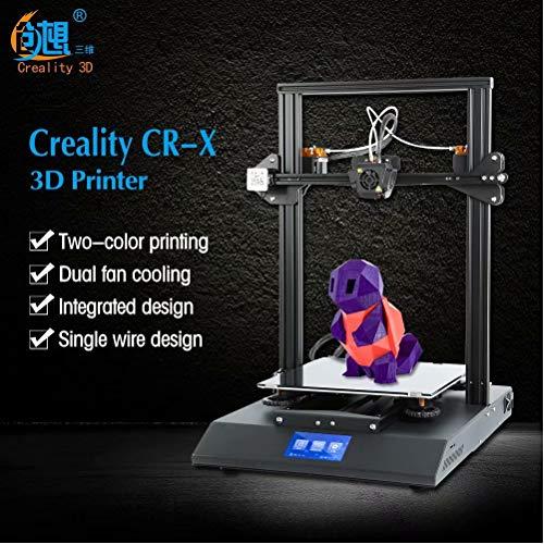 Laecabv Creality CR-X Imprimante 3D Machine Imprimante 3D intégrée semi-assemblée à deux couleurs d'extrusion - Kit de bricolage plus volumineux - Format d'impression 300 x 300 x 400 mm