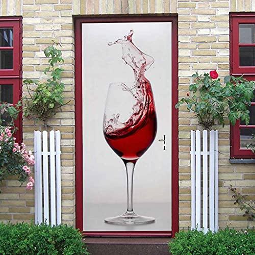 EIDLIR Murales Para Puertas 3D Para Puertas Papel Pintado Puertas Autoadhesivo Copa de vino tinto de moda Impermeable Papel Pintado Puerta Mural Puertas Pegatinas Para Puertas Vinilos Decorativos 88x2